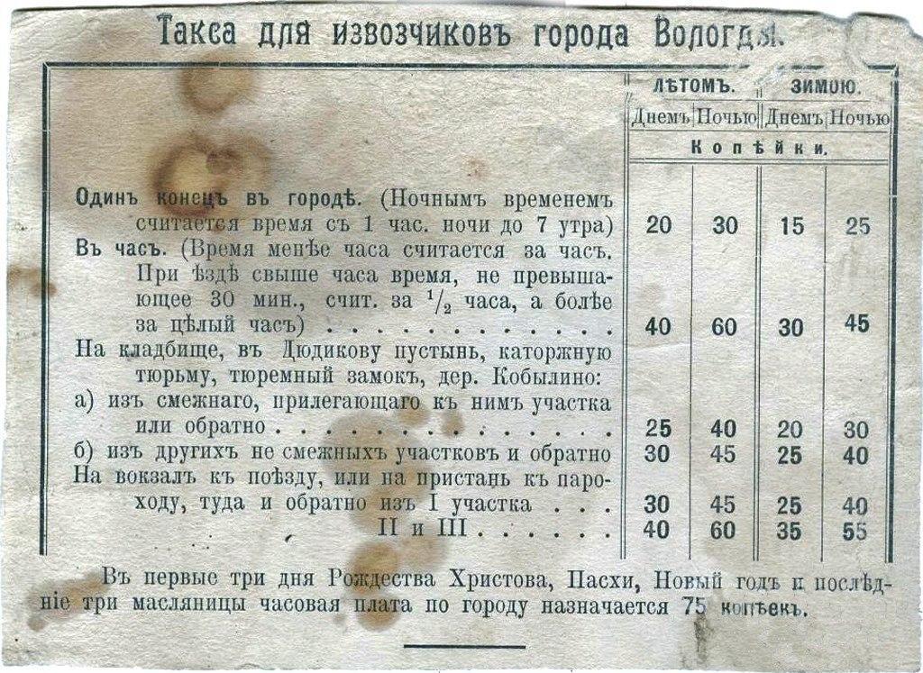 Такса для извозчиков города Вологды